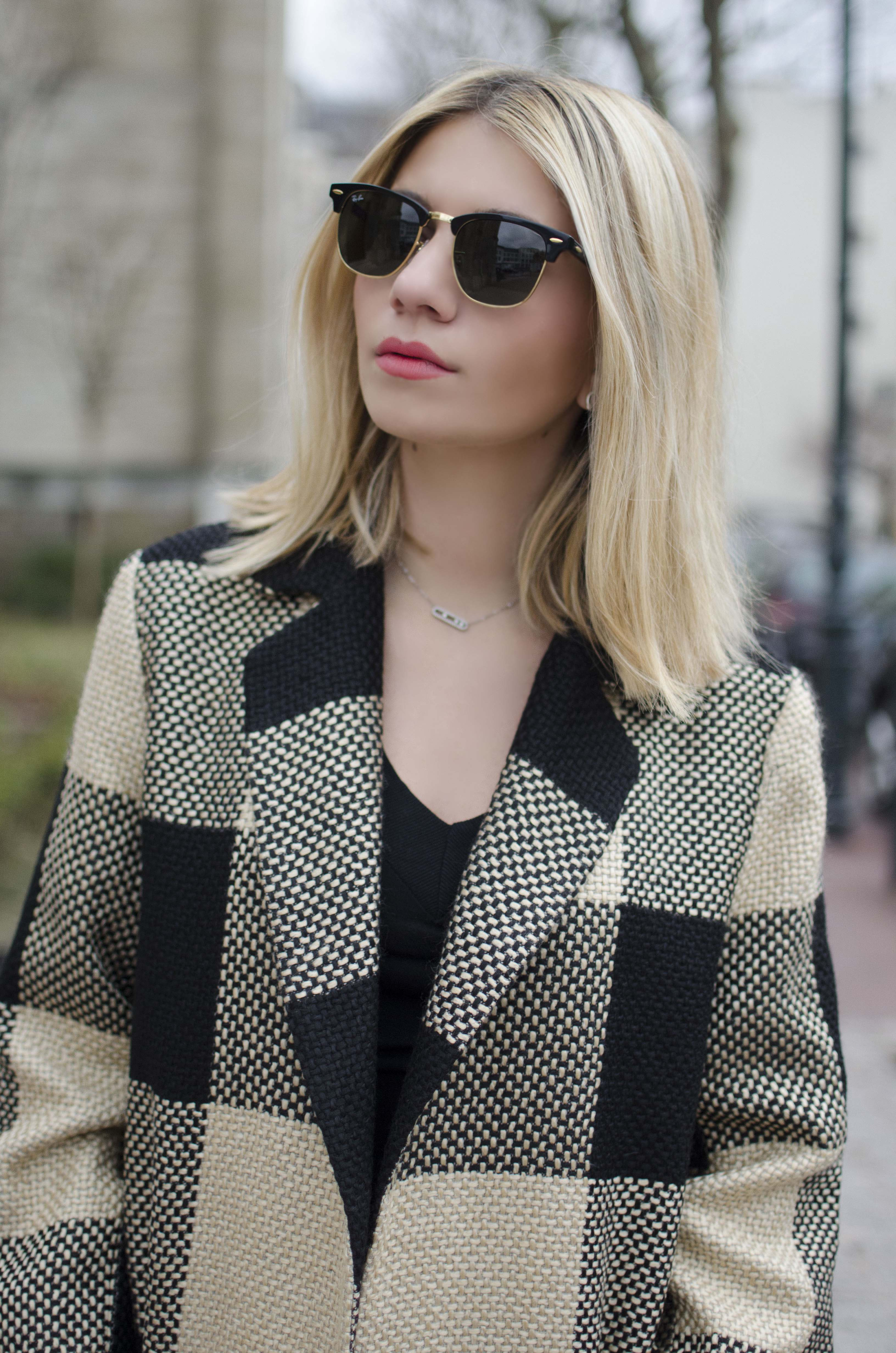 ootd blond rayban clubmaster coat