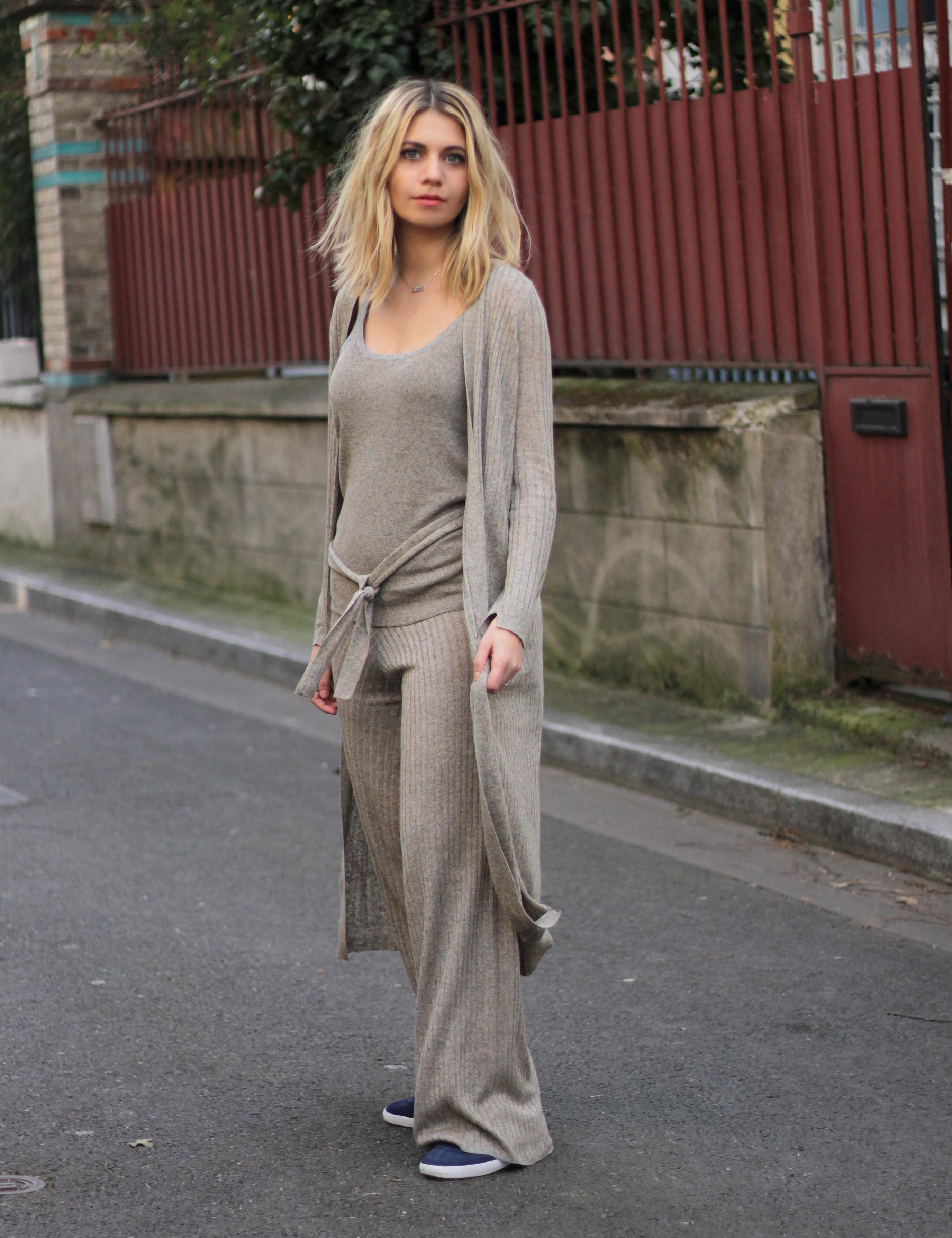 ootd knit zara blond blogger