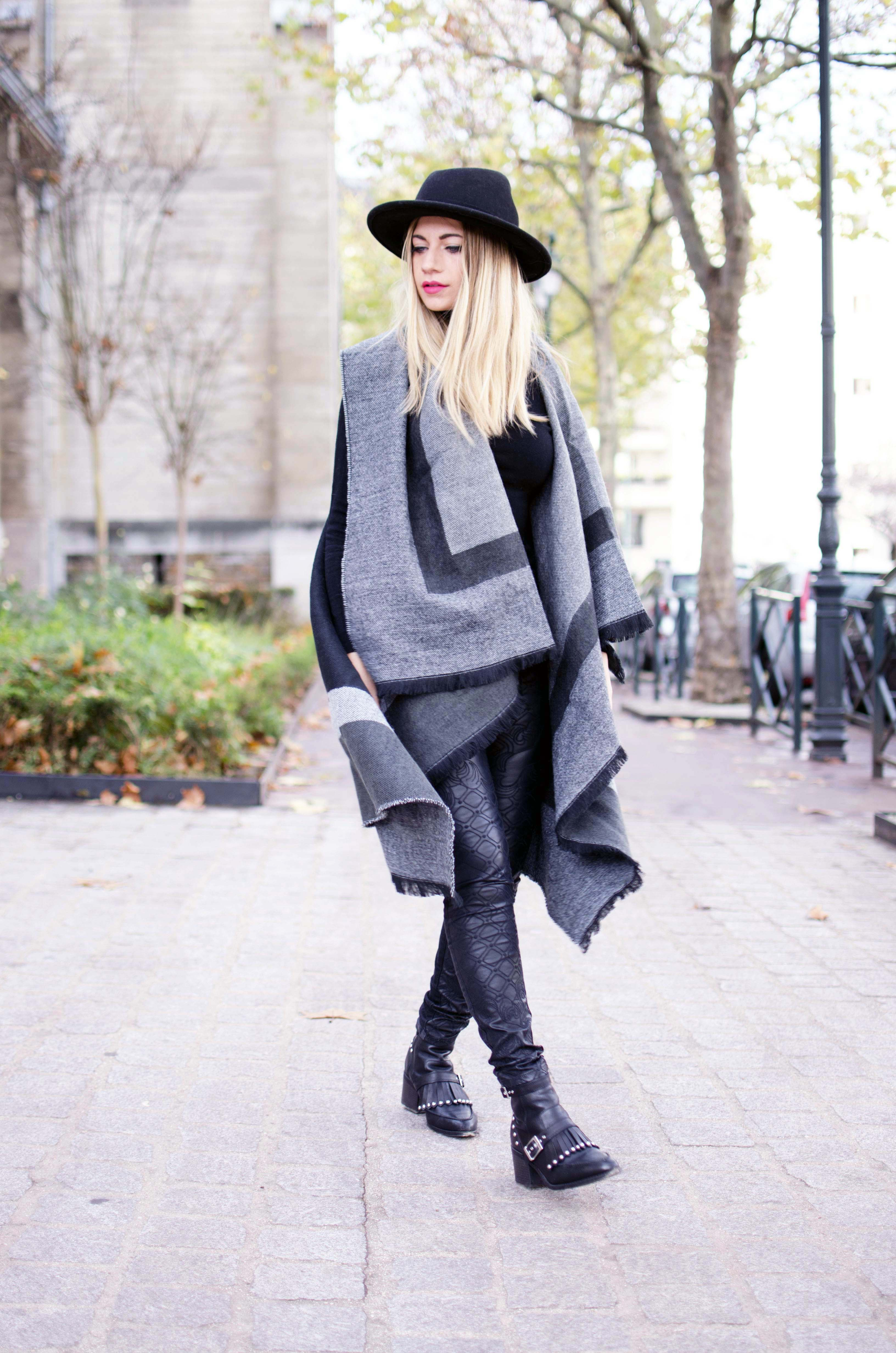 ootd blond cape poncho new look mode fashion