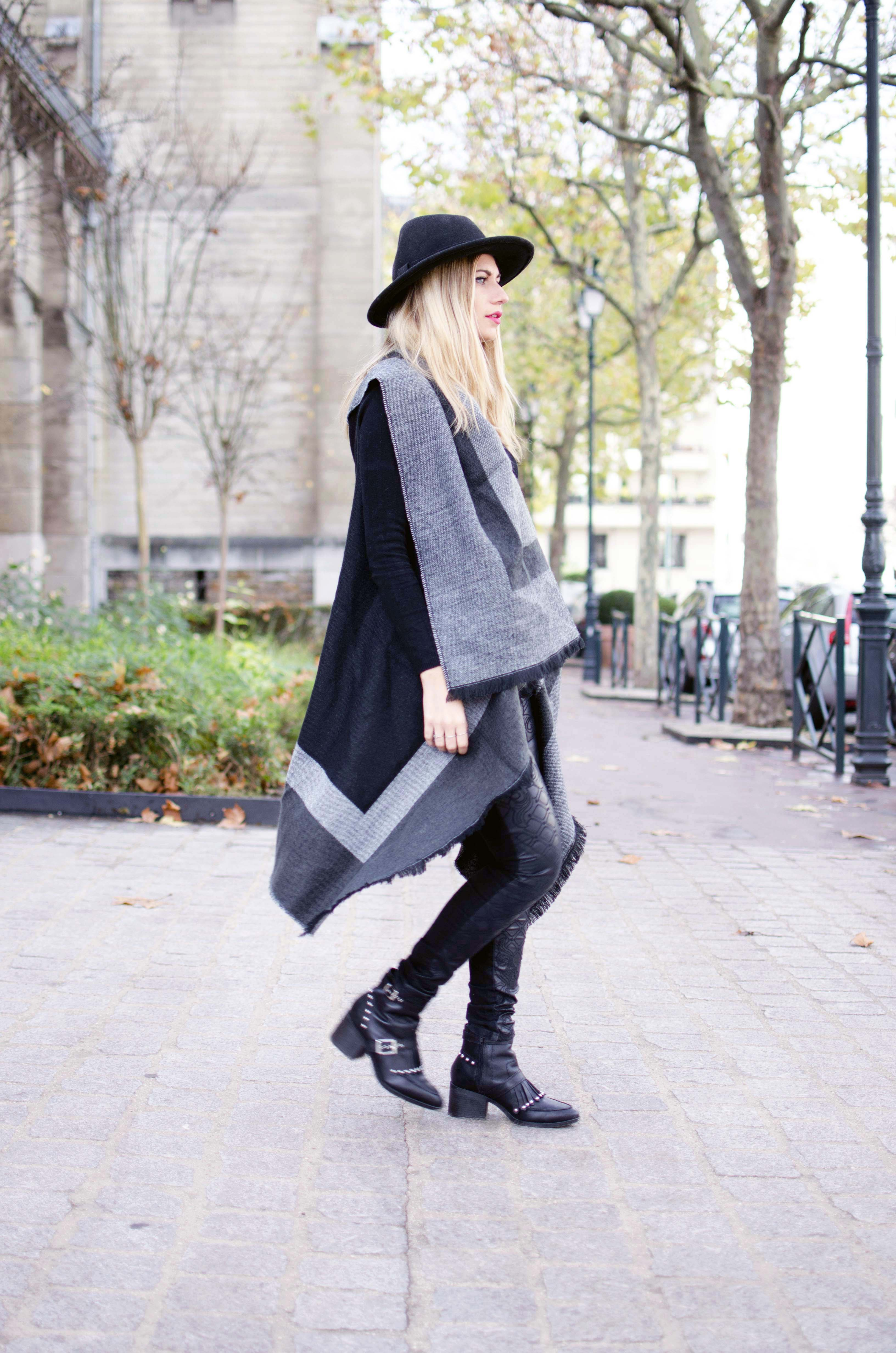 ootd blonde cape poncho couverture echarpe new look