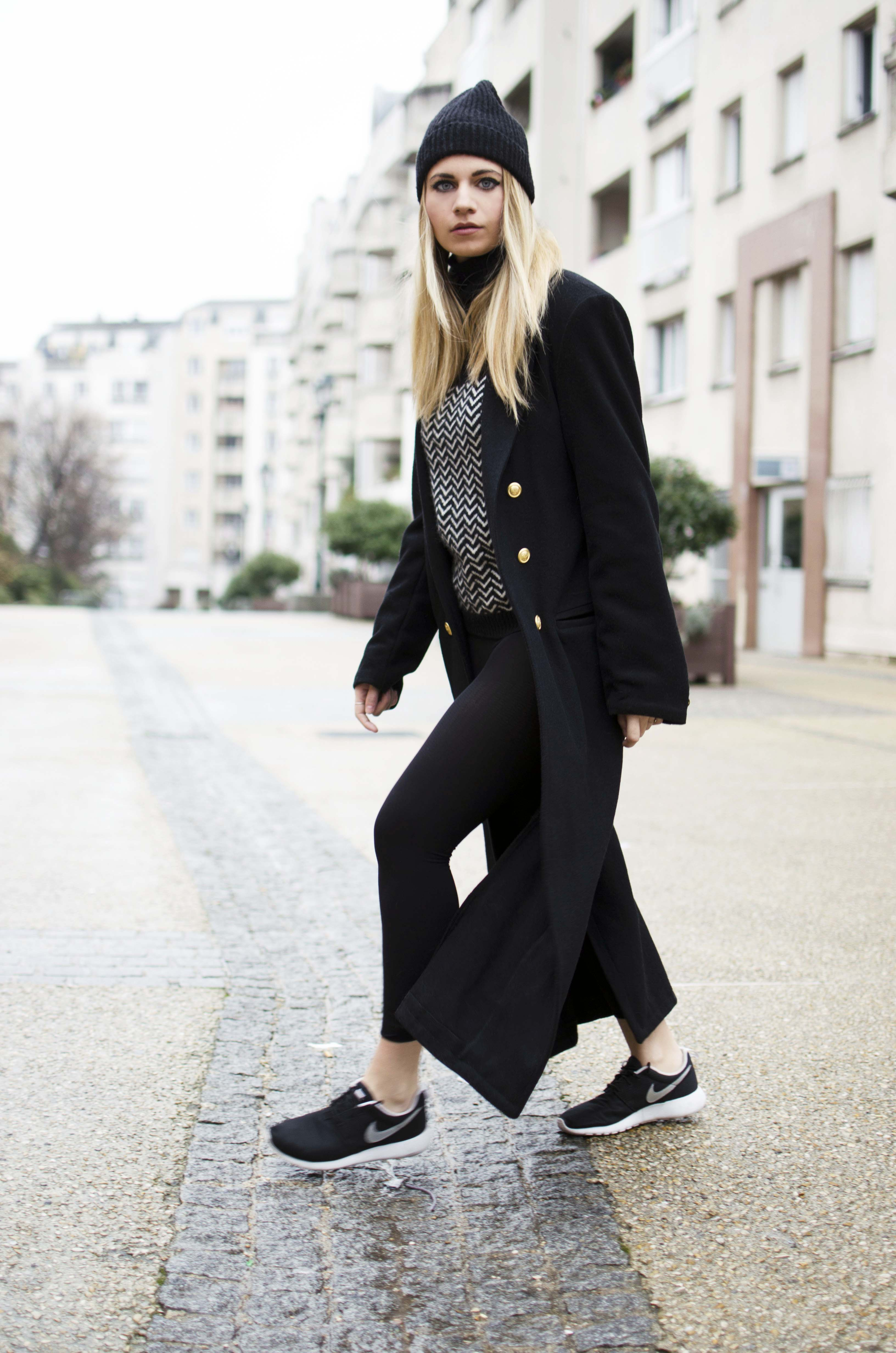 ootd long coat beanie