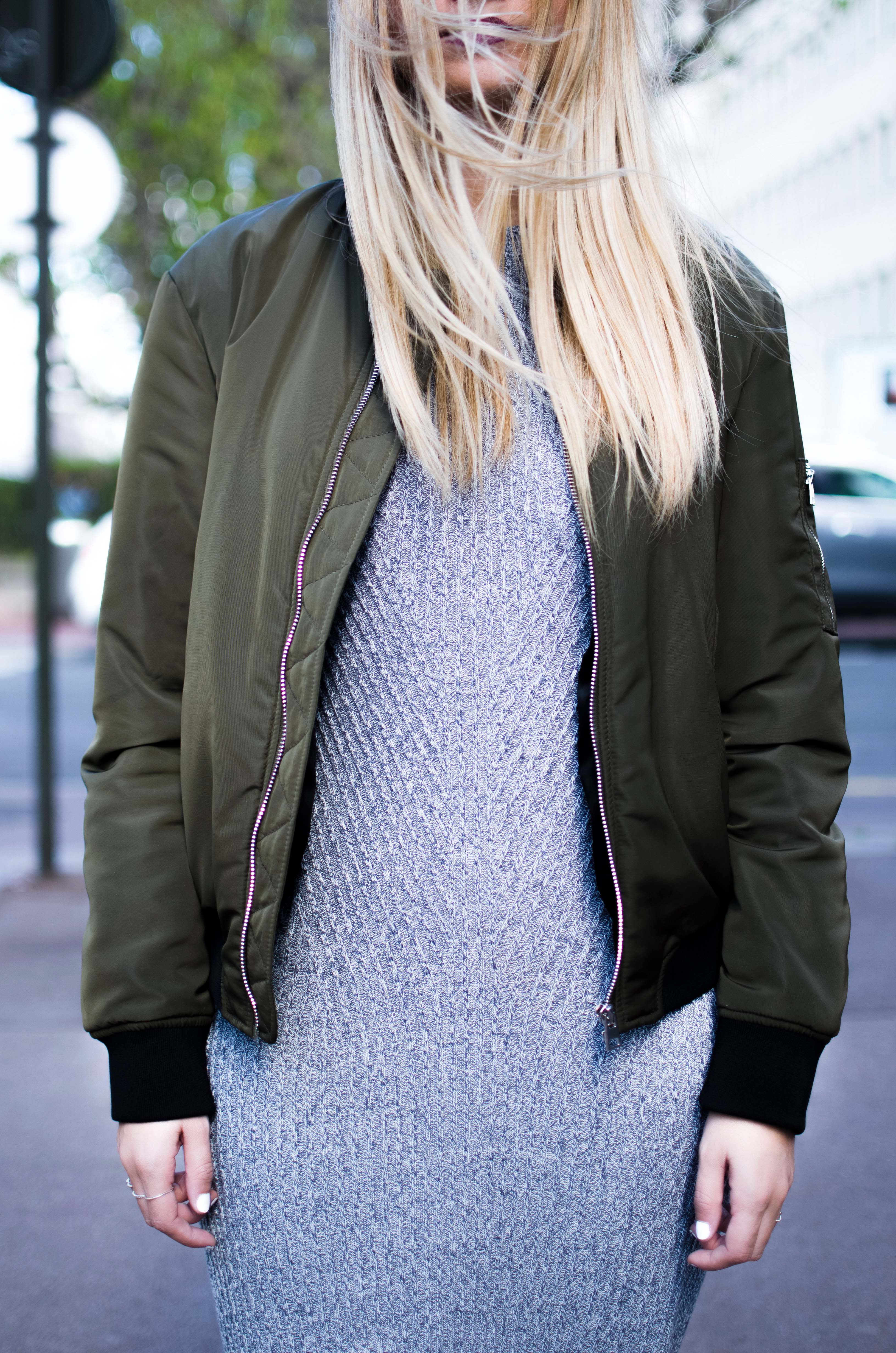 ootd slip dress hm bombers